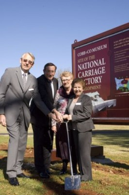 The first sod is turned by Clive Armitage, Kerry Shine MP, Mary Wagner and Conchita Armitage.